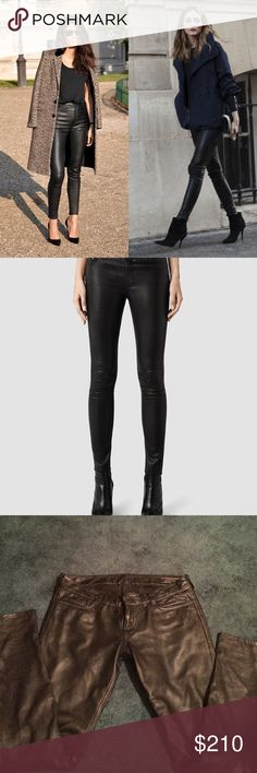 All Saints Mauritius leather pants *1 day sale All Saints Mauritius leather skinny jeans, size 26, excellent condition, half lined up to knee, amazingly warm All Saints Pants Skinny