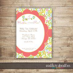 Flower Birthday Invitation / Girls Birthday Invitation / Pink & Orange Birthday Invitation / 1st, 2nd, 3rd Birthday Invitation - Printable via Etsy