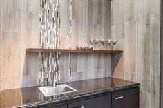 Home bar wood like wall tile - Bosco Argent faux wood tile https://www.tileshop.com/product/682680.do