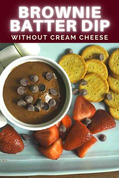 This brownie batter dip is made without cream cheese, only 4 ingredients, and is low carb! An easy healthy snack or dessert that is only 70 calories per serving!