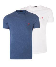 7dc6f6edc18844 Dsquared2 – 2pack basis shirts – Blauw + Wit | ROBBERT kennis van mode
