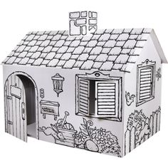 Discovery Kids Cardboard Color and Play Playhouse contemporary kids toys Cardboard Houses For Kids, Cardboard Playhouse, Cardboard Crafts, Cardboard Tubes, Cardboard Fireplace, Cardboard Furniture, Learning Toys, Preschool Learning, Coloring For Kids