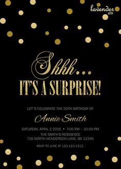 Sorpresa de cumpleaños invitación fiesta Shhh es un fabulosa