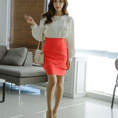 KERRI RUFF COTTON TOP . . #koreanfashion #kfashion #glamour #beauty #elegantchiffonRufflesBlouse #BeaGorgeousHera Glamour Beauty, Korean Fashion, Ruffles, Leather Skirt, Mini Skirts, Chiffon, Blouses, Elegant, Cotton