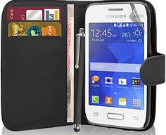 Excellent Accessories Samsung Galaxy Young 2 SM-G130 - Premium Quality Exclusive Leather Easy Clip On WALLET / FLIP Case / Personalise your phone with this high quality exclusive pu leather cover with custom cut out for camera, charging. This stylish cover exclusive pu leather protects the mo (Barcode EAN = 0768724278869)…