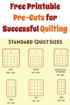 FREE Printable Pre-Cuts for Successful Quilting!