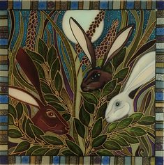 Midnight Hares. Hand painted stained glass style panels to hang. I love the dusky blues in this design. www.theglassorchard.com #StainedGlassILove!❤
