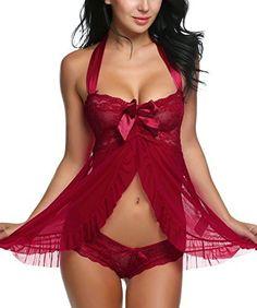 be8438114b6 Avidlove  Women  Sexy  Nightwear Halter Lace Strap Chemise Babydoll   Lingerie Set (L