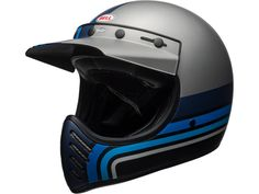 Forty years ago, the Moto 3 helmet made its market debut and will definitely change the style of off-road racing. Today, the Moto 3 combines passion and inno. Full Face Motorcycle Helmets, Motocross Helmets, Full Face Helmets, Casque Bell, Bell Moto 3, Bell Helmet, Malibu Blue, Motorcycle Manufacturers, Biker Gear