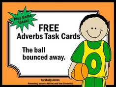 Freebie: Adverbs:  Adverbs Task Cards - Here are 6 literacy task cards to help students practice identifying the adverb in each sentence.   A student response form and answer key are also provided.  There are four task cards on each page.    You may also like:  AdverbsTask Cards Set of 30   Adjectives Task Cards Set of 30   Task cards are a great alternative to worksheets.
