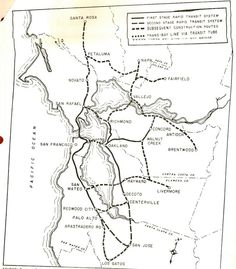 transportationnation:    From Oaklandish: an ambitious 1956 BART prototype map.    Some might say a little overly ambitious!