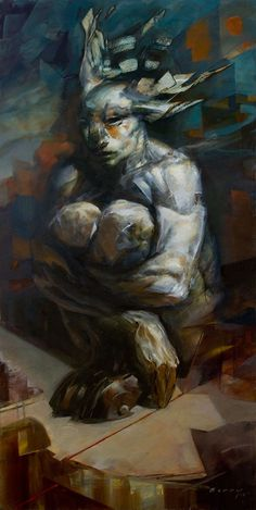 """""""Fault Line"""" ©Rick Berry 2012, oil on panel, 24 x 48  Rick, it's fantastic as usual. I love that you generally don't use reference... but you still study all the time. Todd Lockwood said that """"No one can just draw muscles perfectly out of their imaginations. Well... except Rick Berry."""" 5/27/2012 ~Ann~"""