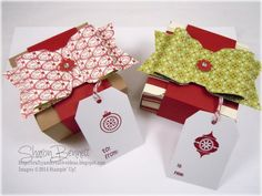 Stampin Up Gift Box Punch Board Boxes - bows made with envelope punch board