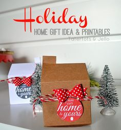"Quick & Cute Neighbor ""House"" Gift Boxes -- And Free Printable Tags!! -- Tatertots and Jello"