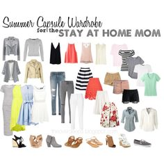 A Summer Capsule Wardrobe for the Stay at Home Mom. Creating easy and stylish outfits for a SAHM with this summer capsule wardrobe. The Overdeeps Capsule Wardrobe Mom, Mom Wardrobe, Capsule Outfits, Fashion Capsule, Summer Wardrobe, Wardrobe Design, Outfits Casual, Dress Casual, Mein Style
