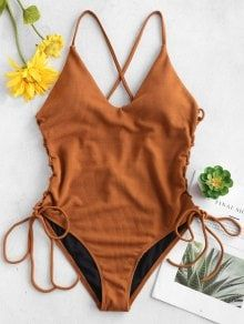 Lace-up Cross High Cut Swimsuit - Brown S Crop Top Bathing Suit, Cute Bathing Suits, Bikini Sets, Push Up Bikini, Brown Swimsuit, One Piece Swimsuit, Swimsuit Cover, Plus Size Swimsuits, Cute Swimsuits
