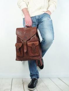 Vintage brown leather rucksack / backpack A4 bag school college mens