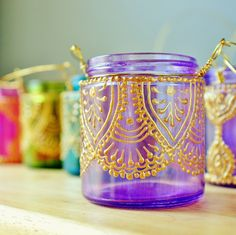 Hanging Candle Holder Inspired by Moroccan Lanterns, Lavender Tinted Glass With Golden Accents. DIY