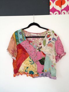 Awesome crop top patchwork blouse!!!