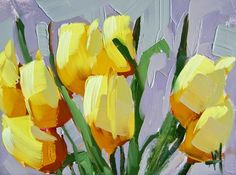 angela moulton's painting a day. Yellow Tulips no. 10 Painting