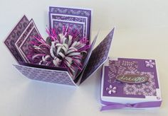 Dream Explosion Box Mini Album In Purple And White With Flowers by stufffromtrees on Etsy