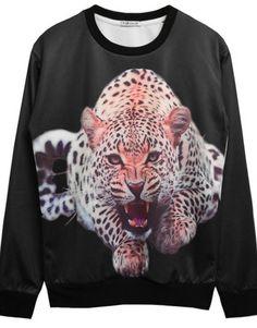 Black Leopard Print Round Neck Sweatshirt US$27.50