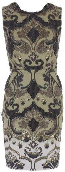 MATTHEW WILLIAMSON Ombre Ikat Weave Panelled Shift Dress