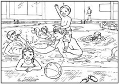 Swimming pool colouring page | Zomer - Kleurplaten | Pinterest ...