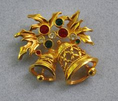 1960s Gold Tone AVON Rhinestone Christmas Holiday Bells Pin Brooch