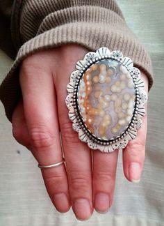 Large natural Ocean Jasper silver ring.