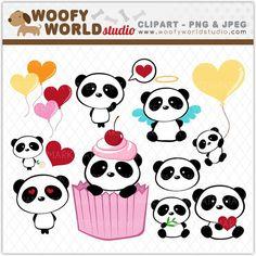 Cute Little Panda Clipart - INSTANT DOWNLOAD - Digital Clip Art - WA014C1a