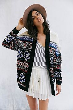 Ecote Flora Open-Front Cardigan - Urban Outfitters