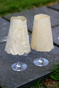 paper lampshades- probably tealights in a wine glass but this gives to inspiration on a larger lamp shade. Lace Lamp, Paper Lampshade, I Love Lamp, Glass Candle Holders, Diy Projects To Try, Pillar Candles, Tea Lights, Wine Glass, Outdoor Tables