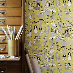Collage Tapete Kinder Erwachsene Blumenmuster Shabby Chic Einhörner Holz