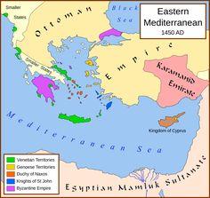 Eastern Mediterranean 1450 - Knights Hospitaller - via Wikipedia