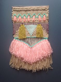 Tissage by Maryanne Moodie // Art Fibres Textiles, Textile Fiber Art, Weaving Textiles, Weaving Art, Tapestry Weaving, Loom Weaving, Hand Weaving, Weaving Wall Hanging, Wall Hangings