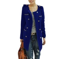 Allegra K Women Double Breasted Epaulets Decor Long Sleeve Textured Overcoat Blue XS Allegra K. $19.36
