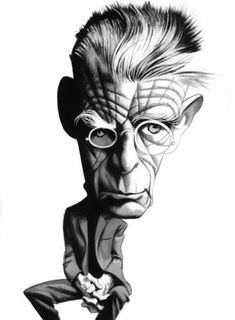 Beckett by Fernando Vicente Samuel Beckett, Alberto Giacometti, Portraits, Portrait Art, Satire, Classic Literature, Illustrations And Posters, Funny Cartoons, Funny Faces