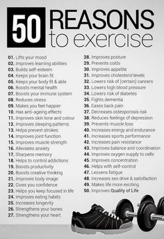 50 reasons to exercise – fitness workout motivation! Some great reasons to get o… 50 reasons to exercise – fitness workout motivation! Some great reasons to get out and get busy! Motivation Sportive, Gewichtsverlust Motivation, Weight Loss Motivation, Exercise Motivation, Health Exercise, Physical Exercise, Morning Motivation, Motivation Boards, Mental Health