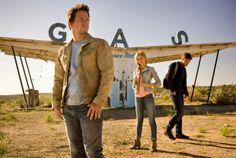 """Transformers: Age of Extinction"" features Mark Wahlberg, from left, as Cade Yeager, Nicola Peltz as Tessa Yeager, and Jack Reynor as Shane Dyson."
