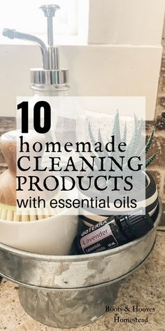 10 Homemade Cleaning Products with Essential Oils. All natural cleaning products that can be made at home. All Natural Cleaning Products, Natural Cleaning Recipes, Homemade Cleaning Products, Deep Cleaning Tips, Household Cleaning Tips, Green Cleaning, House Cleaning Tips, Spring Cleaning, Cleaning Hacks