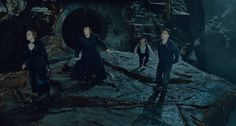 Still of Warwick Davis, Rupert Grint, Daniel Radcliffe and Emma Watson in Harry Potter and the Deathly Hallows: Part 2 (2011)