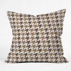 Allyson Johnson Classy Brown Houndstooth Throw Pillow | DENY Designs Home Accessories