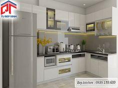 Thi công tủ bếp gỗ đẹp tông màu trắng đen tạo hình chữ L KC59C