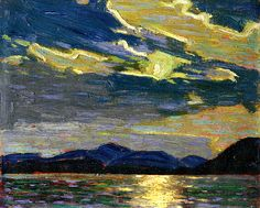 Hot Summer Moonlight ~ Tom Thomson, Group of Seven Emily Carr, Group Of Seven Artists, Group Of Seven Paintings, Canadian Painters, Canadian Artists, Nocturne, Landscape Art, Landscape Paintings, House Paintings