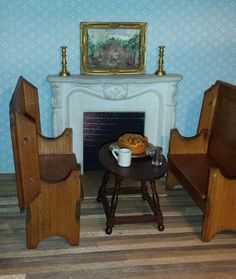 Dollhouse miniatures set of 2 vintage settles, hutch tables, by artist TB