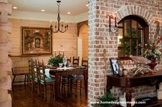 Love the dining area in this Jim Barna Log Home
