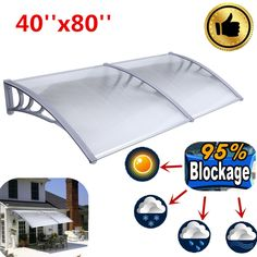 Sun Shade Canopy Awning For Windows Doors 40*80 Polycabonatee Clear Hollow Sheet #Unbranded