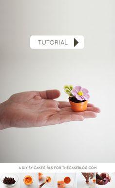 no bake! | Teeny Tiny Flower Pot Cakes | Cake Tutorial by Cakegirls for TheCakeBlog.com