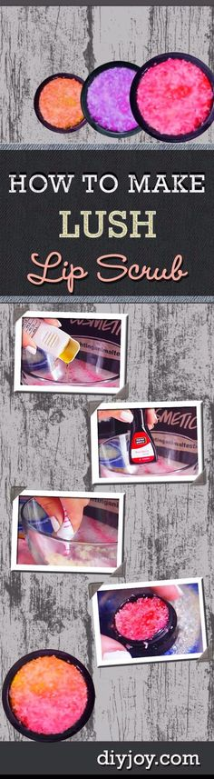 DIY Lush Inspired Recipes - DIY Lush Lip Scrub - How to Make Lush Products like Bath Bombs, Face Masks, Lip Scrub, Bubble Bars, Dry Shampoo and Hair Conditioner, Shower Jelly, Lotion, Soap, Toner and Moisturizer. Copycat and Dupes of Ocean Salt, Buffy, Dark Angels, Rub Rub Rub, Big, Dream Cream and More. http://diyprojectsforteens.com/diy-lush-copycat-recipes